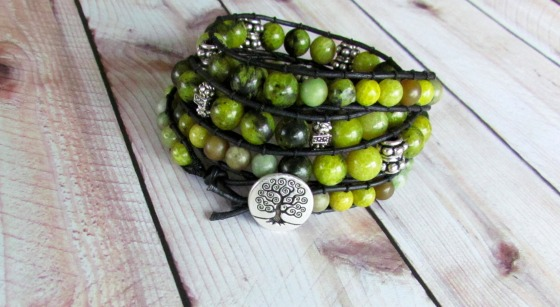 4x wrap green lemon jade bracelet