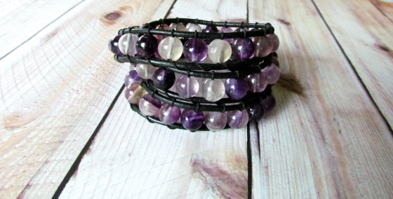 purple triple wrap bracelet