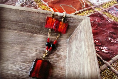 red glass necklace