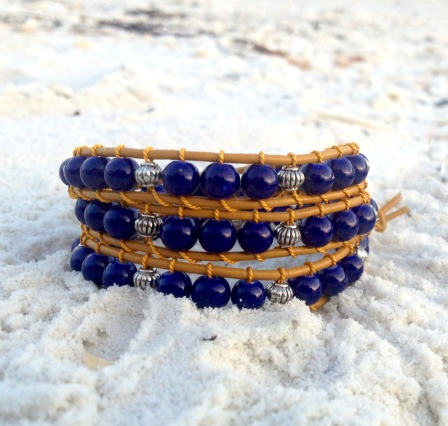 silver gold & blue triple wrap bracelet