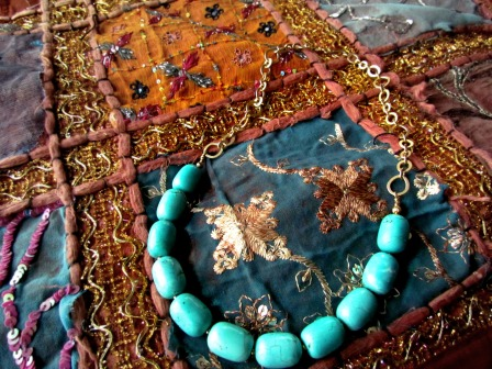 turquoise beaded necklace with satin gold chain