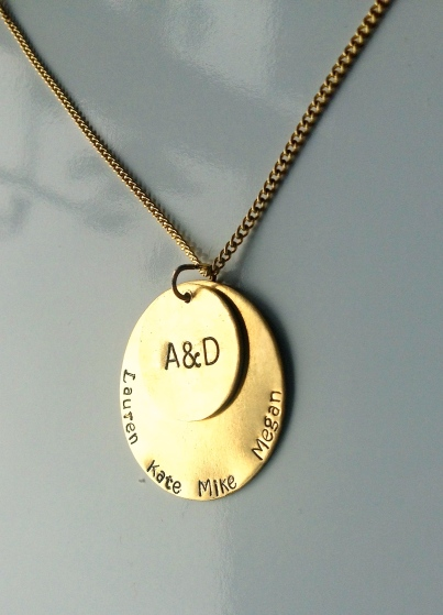 Brass Family Name Necklace