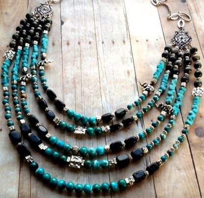 5 strand pewter and turquoise bib necklace 2