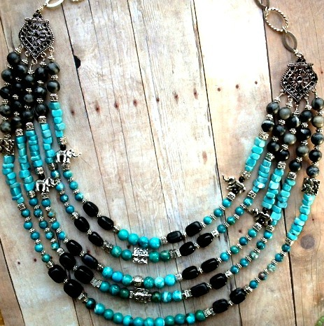 5 strand turquoise and pewter bib necklace