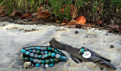 Turquoise Wrap Bracelet & Sterling Silver Monogrammed Necklace w/ Turquoise Accent