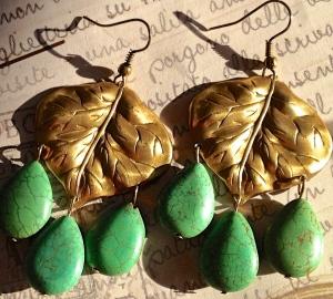 Brass Leaf Turquoise Drop Earrings