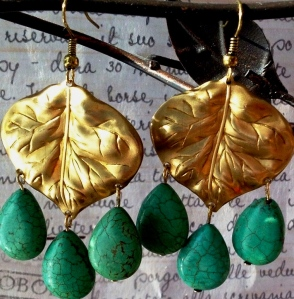 Brass LEaf Turquoise Drop Earrings (Hanging)