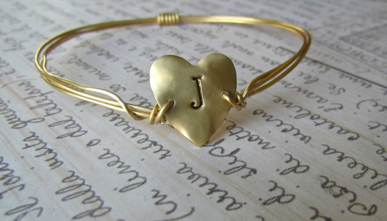 J heart hand stamped bracelet