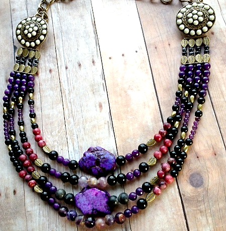 purple beaded bib necklace 2
