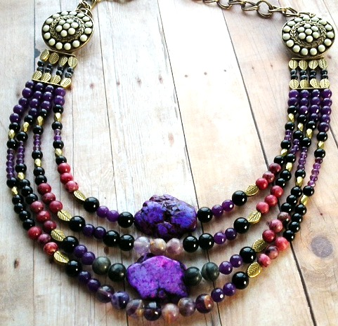 purple beaded bib necklace