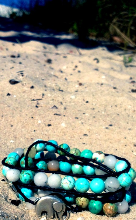 turquoise triple wrap bracelet with silver elephant