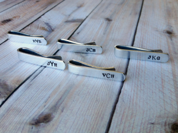 5 Tie Clips- Monogrammed